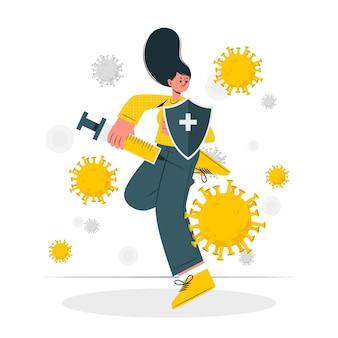 Combattendo contro l'illustrazione di concetto di coronavirus