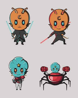 戦闘エイリアンは、ロゴ、ステッカー、ポスターなどにロボット兵器と光の剣を使用します