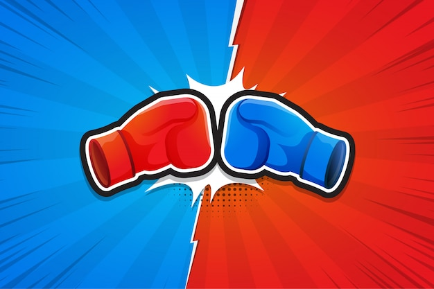 Fighting background, boxing gloves, versus. illustration