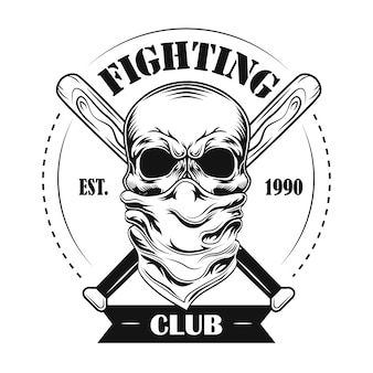 Fighting club member vector illustration. skull in bandana, crossed baseball bats and text