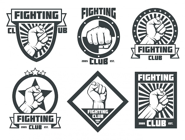 Fighting club mma lucha libre vintage emblems labels badges logos