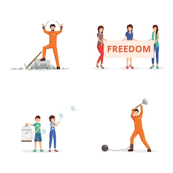 Fighting for freedom vector illustrations set. female activists with placard on demonstration