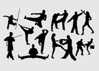 Fighting gesture martial art sport silhouette