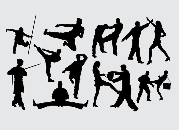 Fighting gesture martial art sport silhouette