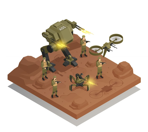 Fighting robots isometric composition