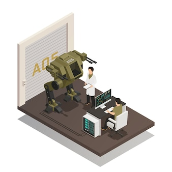 Fighting robots isometric design concept