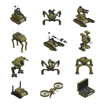 Fighting robots isometric icons