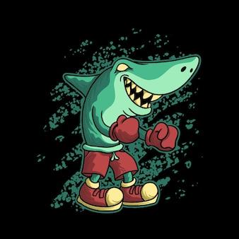 싸우는 상어 만화 동물 그림