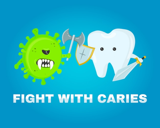 Fighting tooth with cavities, cavity. healthy teeth . disease battle. attacked by germs of cavities. flat illustration