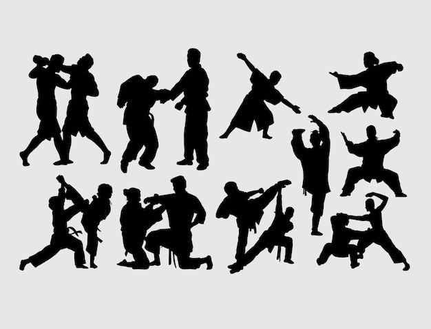 Fighting and training martial art sport silhouette