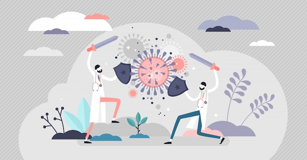Fighting virus scene . covid-19 flat tiny persons concept.