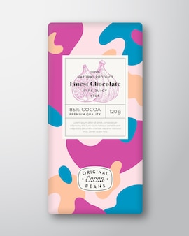 イチジクチョコレートラベル抽象的な形ベクトルパッケージデザインレイアウト
