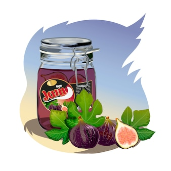 Figs jam in the jar.