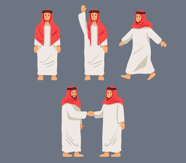 Figurative character arabian men in some pose.