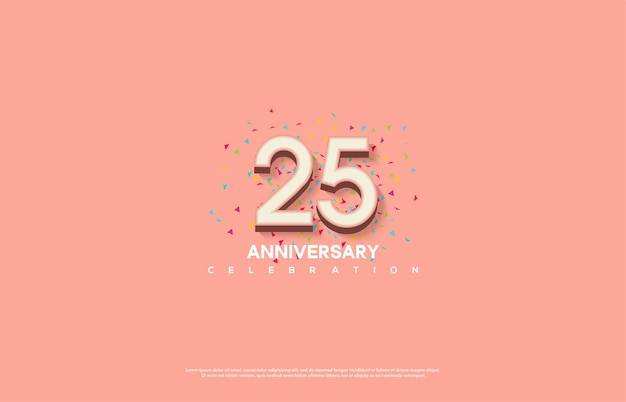 Figure 25 for celebration. with embossed 3d pink numbers.