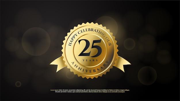 Цифра 25 для торжества. с черными цифрами на золотой эмблеме.