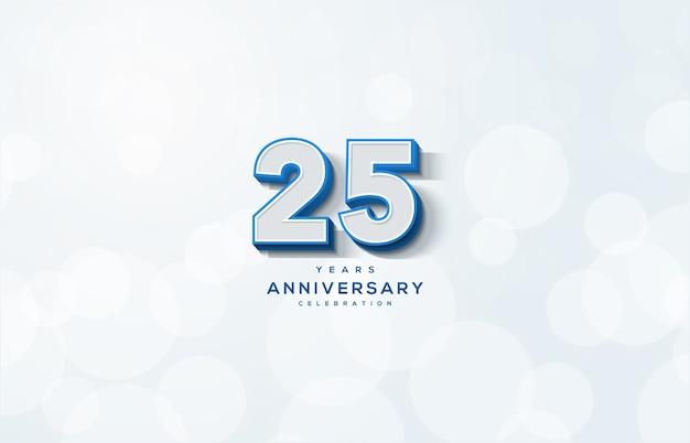 Цифра 25 для торжества. с рельефными 3d числами на белом фоне.