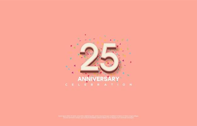 Цифра 25 для торжества. с рельефными розовыми цифрами 3d.