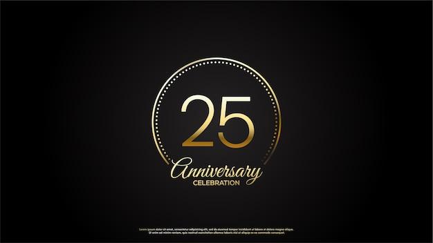 Цифра 25 для торжества. с золотыми числами внутри золотого круга.