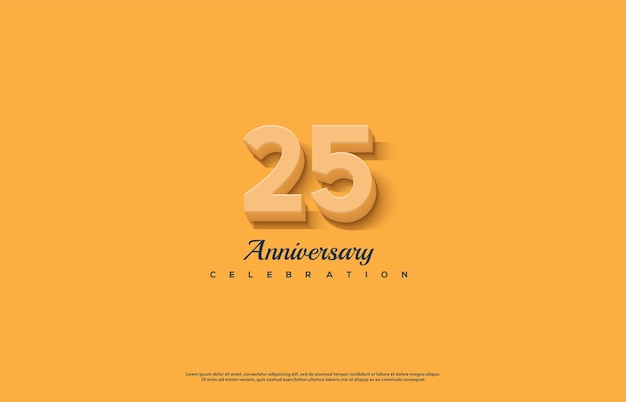 Цифра 25 для торжества. с оранжевыми 3d числами.