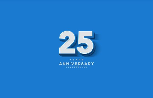 Цифра 25 для торжества. с заметными 3d белыми числами.