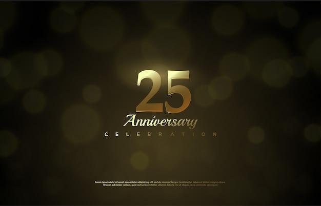 축하를 위해 그림 25. 반짝이는 금색 숫자로.