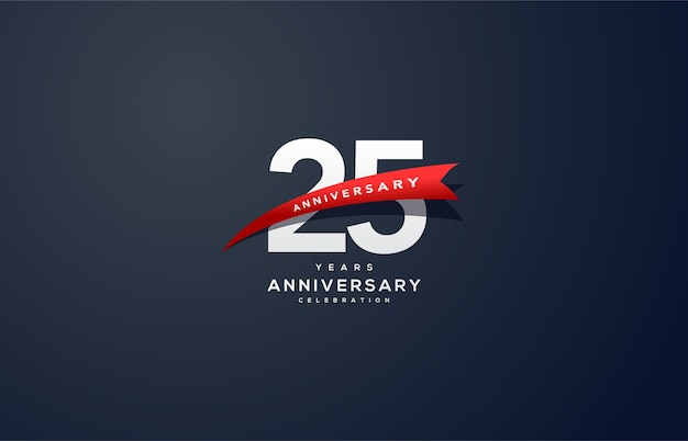 Цифра 25 для торжества. с белыми цифрами и красной лентой.