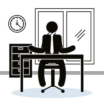 Figure businessman in the office avatar silhouette