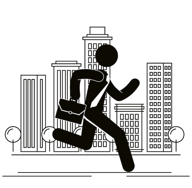 Figure businessman running in the city avatar silhouette