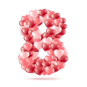 Figure eight is made up of heart-shaped balloons.