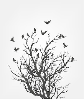나뭇 가지에 비행 새의 그림 무리.