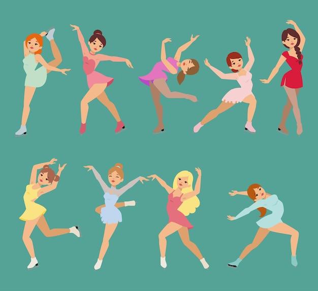 Фигурка фигуристка мультфильм трюк фигура женщины красота спорт девушки делают упражнения
