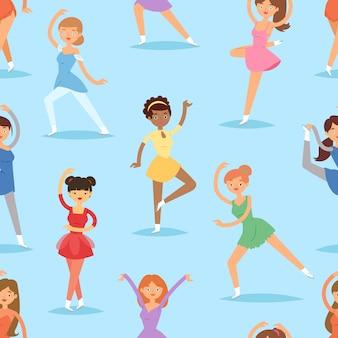図アイススケーター女性美容スポーツ女の子運動とトリックジャンプ文字ダンサーフィギュアスケート少女パフォーマンスイラストのシームレスなパターン背景をジャンプ