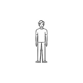 人の手描きのアウトライン落書きアイコンの図。白い背景で隔離の印刷物、ウェブ、モバイル、インフォグラフィックの立ち姿のイラストをスケッチします。