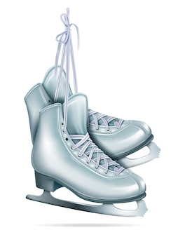 Figure skates hanging on laces, realistic