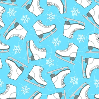 Figure skates and snowflakes on the blue rink. seamless vector pattern.