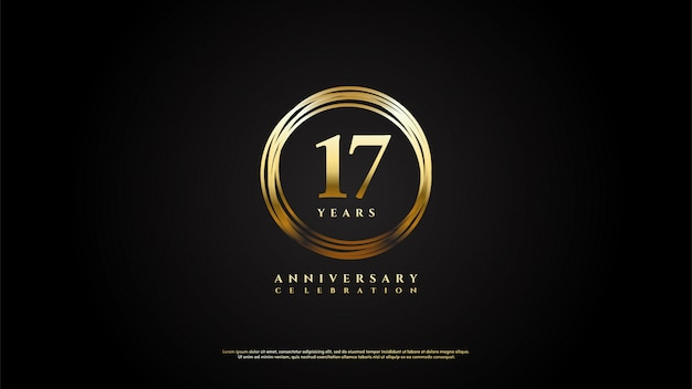 Цифры 17 для торжеств с числами, обведенными золотыми линиями.