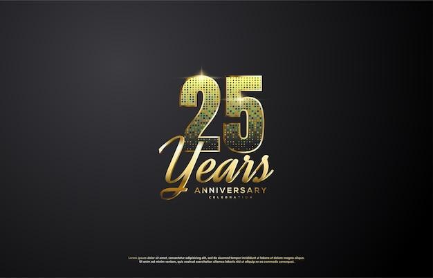 숫자에 금색 반짝이가있는 25 주년 기념 피규어.