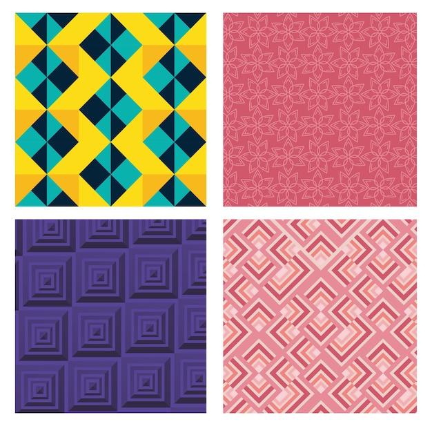 Геометрические фигуры и цвета задают фоны