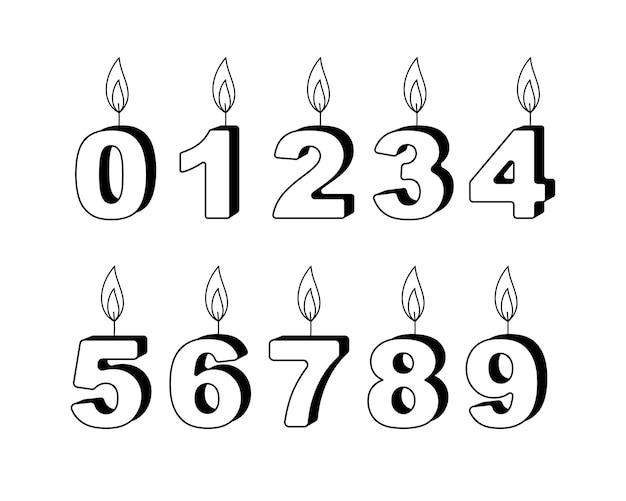 Figures set of burning candles. outline vector illustration