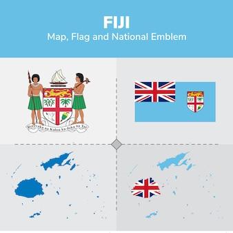 Fiji map, flag and national emblem