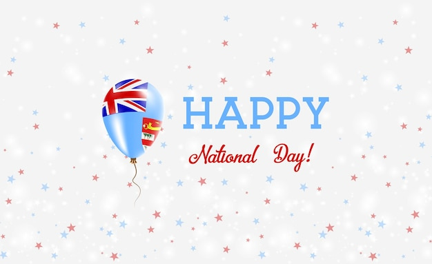 フィジー建国記念日愛国ポスター。フィジーの国旗の色の空飛ぶゴム風船。バルーン、紙吹雪、星、ボケ、輝きのあるフィジー建国記念日の背景。