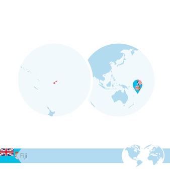 피지의 국기와 지역 지도가 있는 세계 세계의 피지. 벡터 일러스트 레이 션.