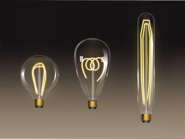 Filament bulbs set. retro edison lamps isolated