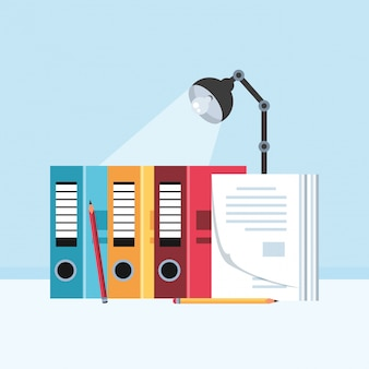 File books with lamp in the workplace