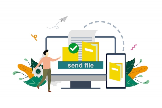 File or document transfer, copy files, backup, file sharing   flat illustration template