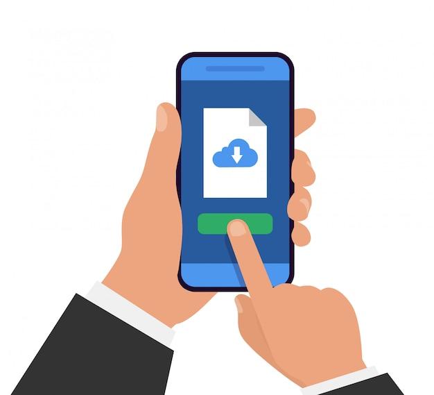 電話でのファイルのダウンロード。ドキュメントのダウンロード。手は、ダウンロードファイルでスマートフォンを保持しています。