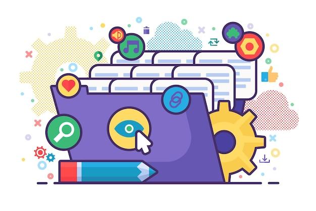 Иллюстрация концепции проводника файлов с папкой, файлами документов и знаками действий файла, карандашом. коллаж бизнес-анализа. портфель персонала