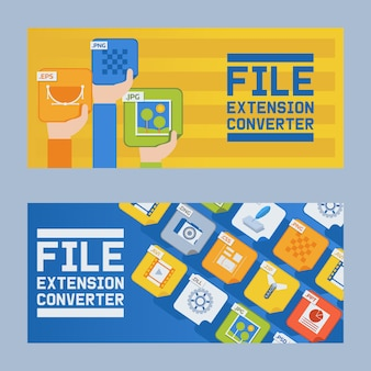 File extension converter set banner. audio, photo, image, word file type. document format. pictogram. web and multimedia.