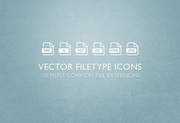 File extensions vector icons set